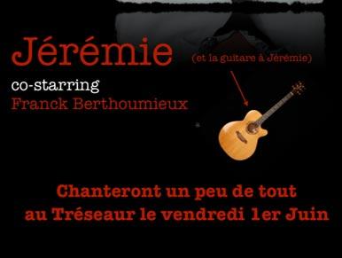 Jérémie et Franck en concert au Tréseaur le 1er Juin à 19h !